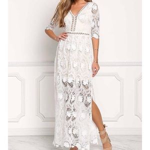 NWT- Lace Embroider Maxi Dress- Ivory